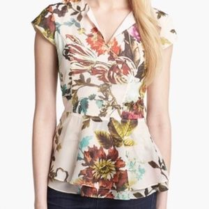 NWOT Ted Baker Peplum Floral Blouse Size 3